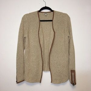 Lucky Brand Tan and Brown Knit Open Cardigan